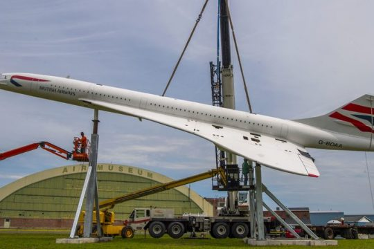 DA Collins workers weld supports for a replica of the British Airways Concorde into place at the Empire Aerosciences Museum Peter R. Barber