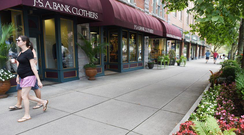 A sidewalk on Broadway in Saratoga Springs