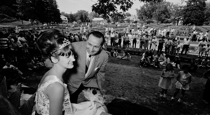 Schenectady Mayor Malcolm E. Ellis crowns Lynne Hart Schenectady Rose Festival queen on Sunday, June 19, 1966 in the Central Park Rose Garden.