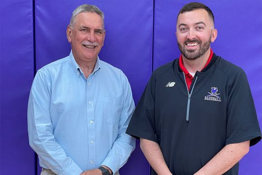 Shane Jones, right,is succeeding Mike Satterlee, left, as Johnstown High School athletic director. (photo provided)