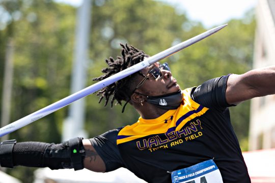 Adrian Mitchell is this year's America East Man of the Year. (Photo courtesyJay Bendlin/UAlbany Athletics)