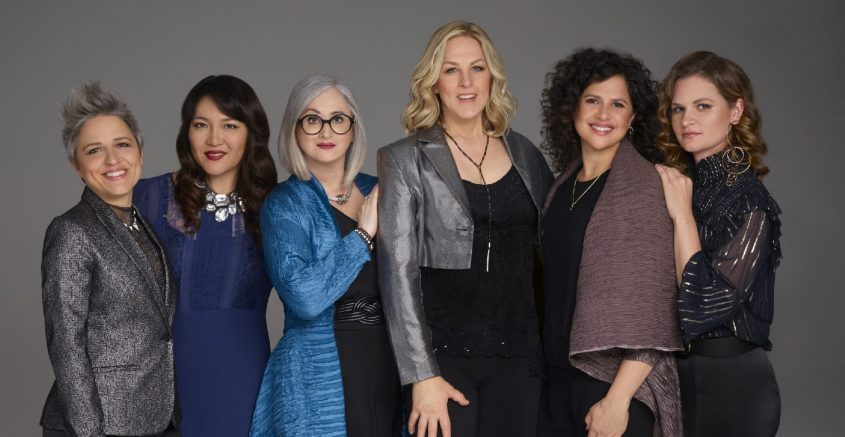 Artemis is, from left, Allison Miller, Noriko Ueda, Renee Rosnes, Ingrid Jensen, Anat Cohen and Nicole Glover. Cohen will not appear with the group this weekend. (The Kurland Agency)
