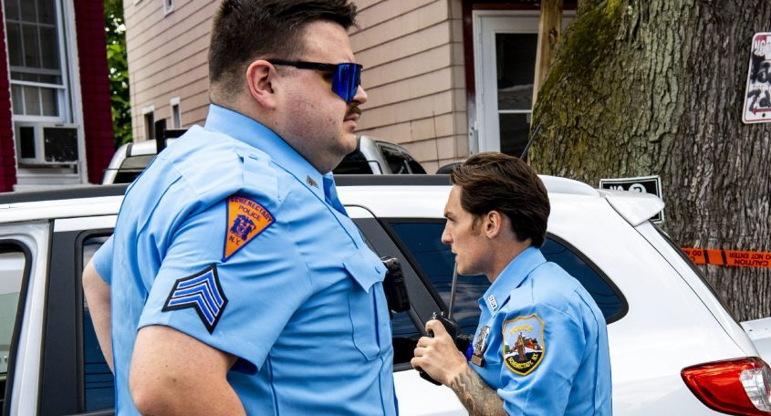 Schenectady police Officers Sgt. Brian Shepler, left, and Richard Desbians wear light blue uniform shirts in celebration of the Schenectady Police Department's 150th anniversary Wednesday. The officers will be seen in the shirts over the next three weeks.