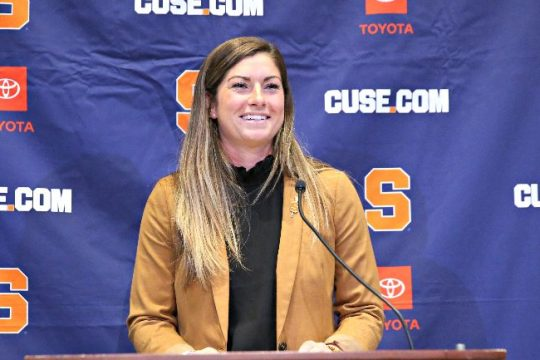 Kayla Treanor is shown during Wednesday's press conference introducing the Niskayuna native as the new Syracuse women's lacrosse head coach. (Photo courtesy Syracuse Athletic Communications)