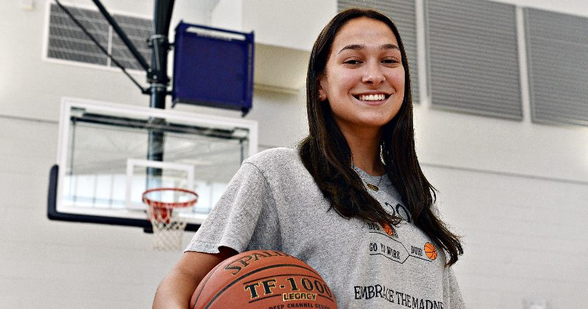 Anna Leeposes in the JohnstownHigh School gymnasium.