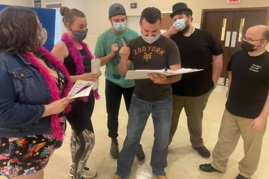 """The Bunbury Players rehearse a scene from""""As We Stumble Along."""" (photo provided)"""