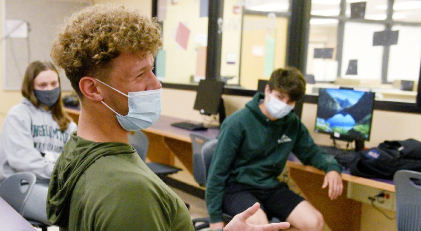 Amsterdam senior James Shatas, 18, speaks during an interview with fellow seniors at Amsterdam High School.