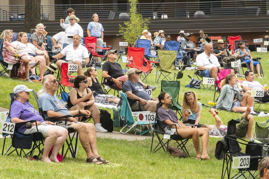 Spectators enjoy the Saratoga Jazz Festival at SPAC in Saratoga Springs on Saturday.