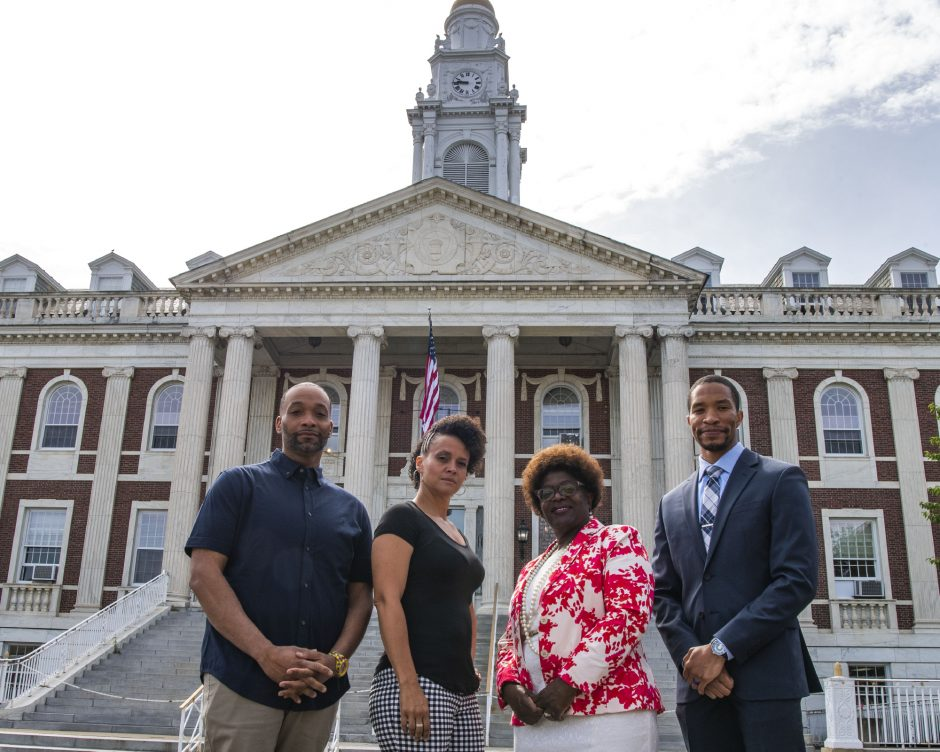 Pictured in front ofSchenectady City Hall on Friday are, from left, Dammoni Farley, Jamaica Miles, Marion Porterfield and Carl WIlliams.
