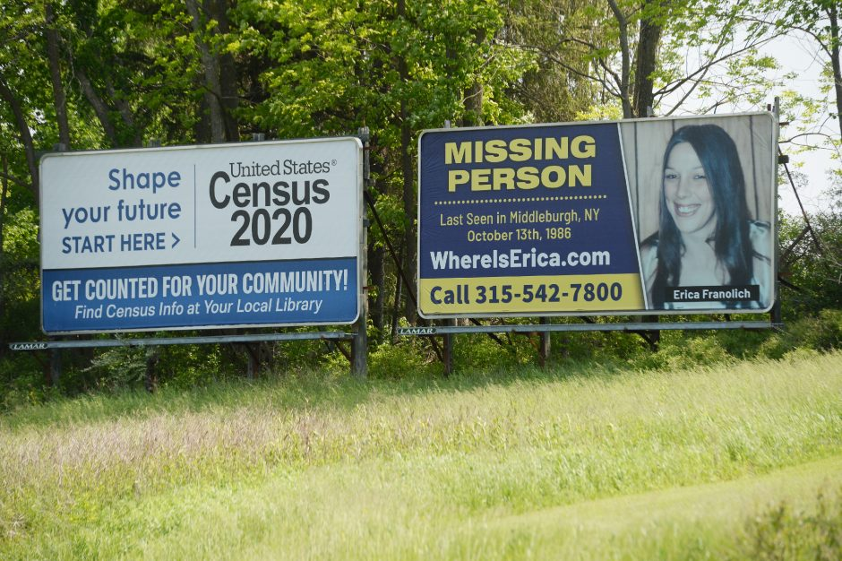 A missing personbillboardfor Erica Franolich, a cold case from 1986, is seen in Cobleskill on Wednesday.