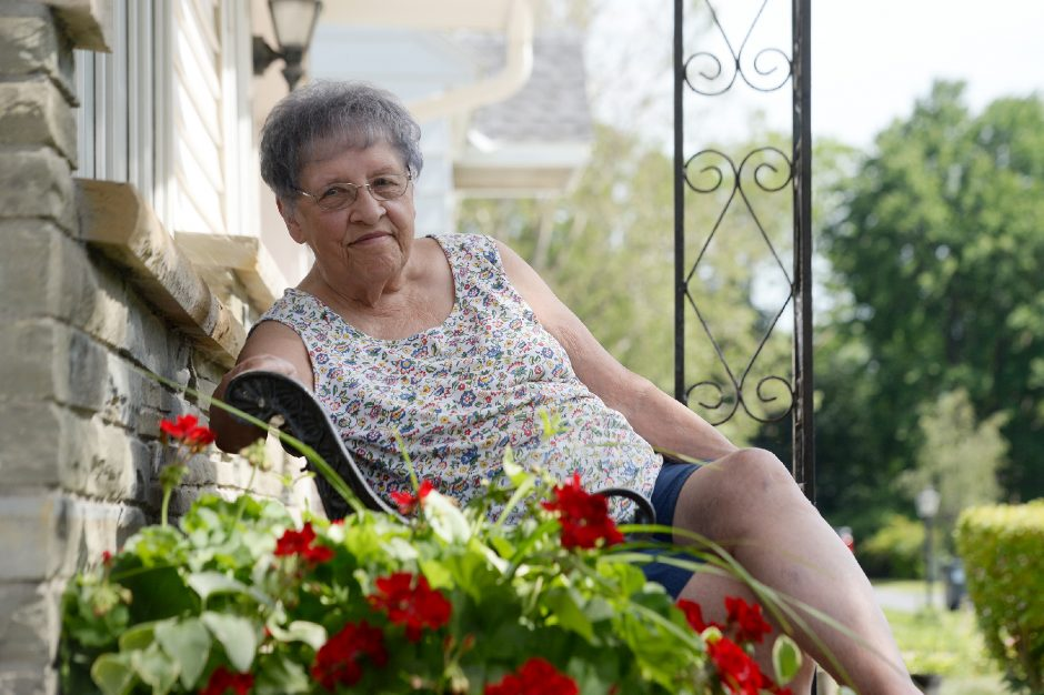 Dottie Wroblewski is shown outside her home in Rotterdam on Friday. She said she misses attending exercise classes at the Rotterdam Senior Citizens Center.