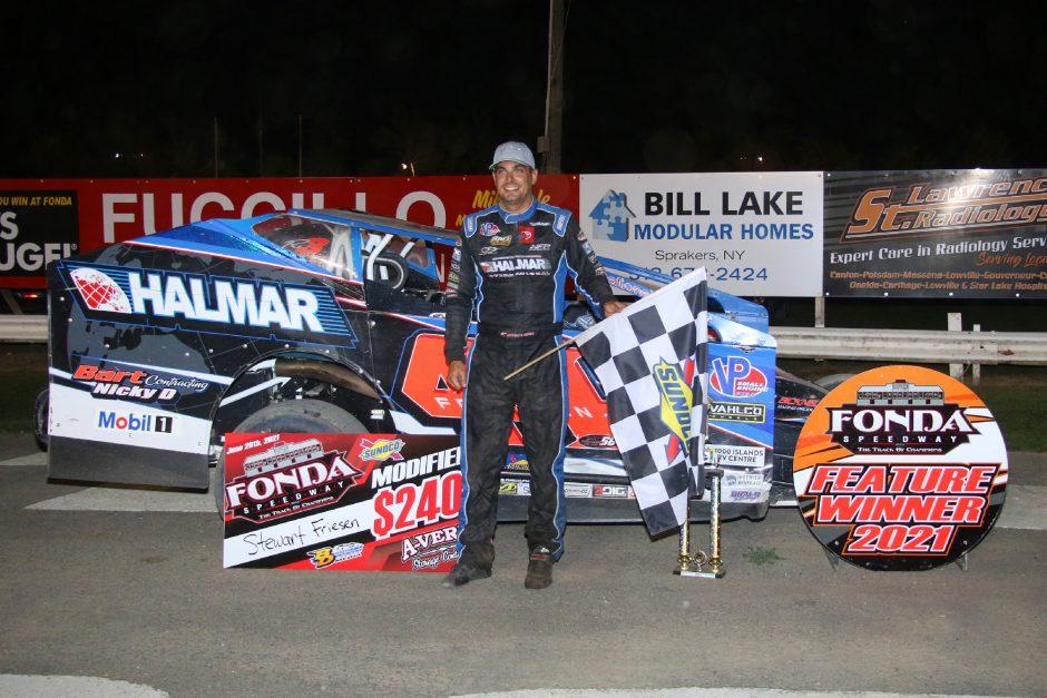 Stewart Friesen won the Sunoco Modified feature on Saturday night at Fonda Speedway. (Photo courtesy Jeff Karabin)