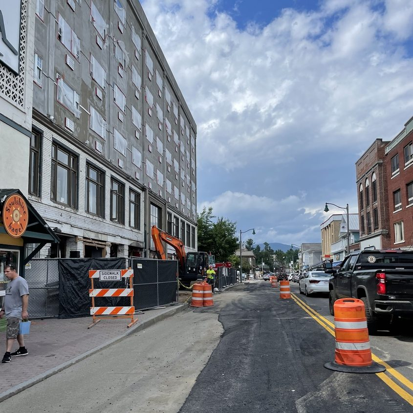 Construction on Main Street in Lake Placid continues Tuesday, June 29, 2021. The bulk of the reconstruction project will be suspendedfor the summer starting Thursday.