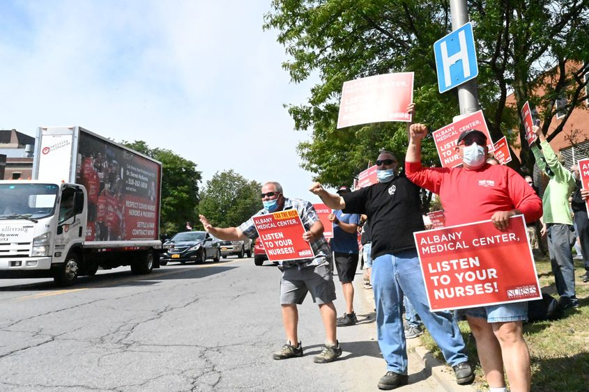 Albany Medical Center nurses rally in front of the hospital on Labor Day 2020.