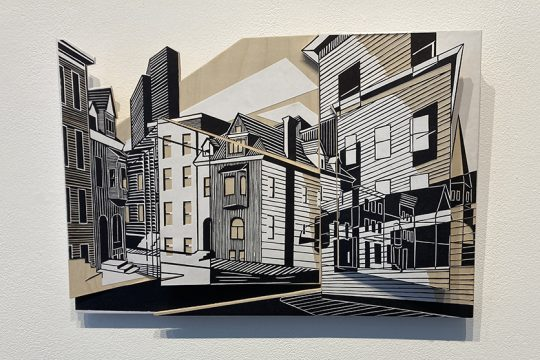 """Katherine Chwazik's """"Intersection (Madison and Philip),"""" woodblock on paper and wood. (Indiana Nash)"""