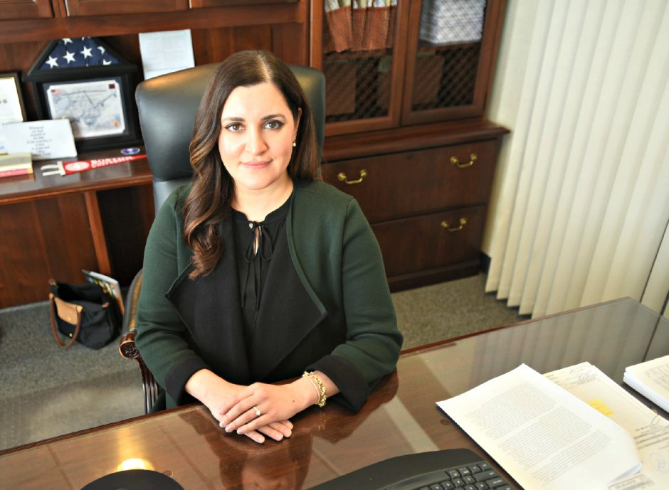 Niskayuna Supervisor Yasmine Syed sits at her desk in her office at NiskayunaTown Hall in March.