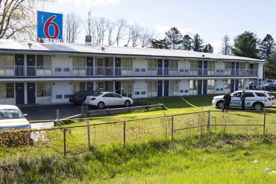 Colonie police investigate a homicide at the Motel 6 on Curry Roadon May 11.