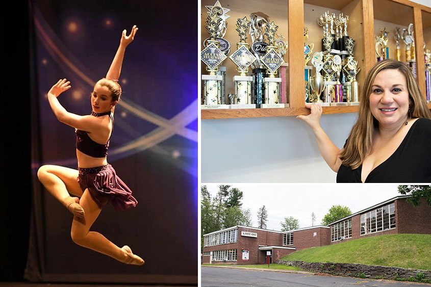 Top right: Cara DeMeo, owner of Dance Force, with some of the many trophies her dancers and teams have won. Bottom right:Her new and bigger studio at 590 Giffords Church Road in Rotterdam.Left: Cara DeMeo's daughter, Mia, a student at Dance Force, during a recent competition. (Photos at right by Peter R. Barber; other photo provided)