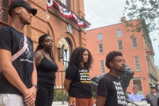 Lexis Figueroa speaks during a BLM demonstration in front of Saratoga Springs City Hall Monday.