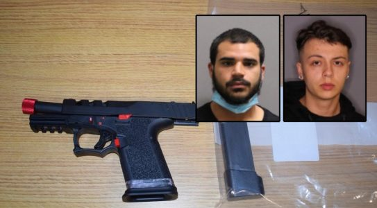 The recovered gun and Haji G. Dukuray, left, and Kyle T. Dery, right - Montgomery County Sheriff's Office