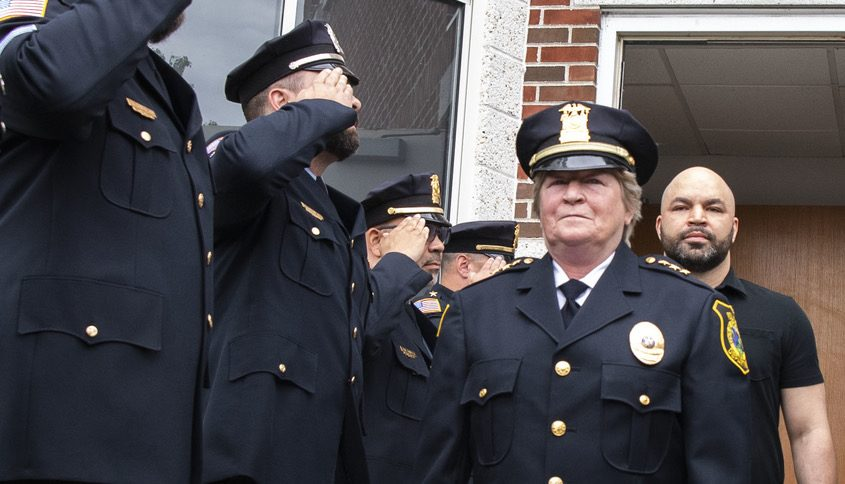 Outgoing Niskayuna Police Chief Fran Wall at her walk out ceremony with her son Don Wall at Town Hall June 11
