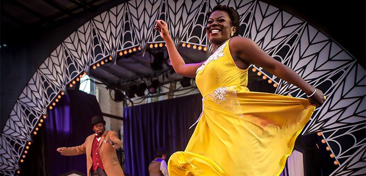 """Mariah Lyttle performs in """"Ain't Misbehavin' """" at Park Playhouse. In the background is Brandon Jones. (Willie Short photo)"""