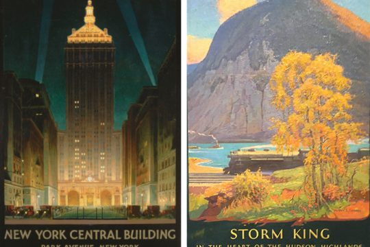 Chesley Bonestell'spainting of thetowering New York Central Building on Park Avenue, circa 1929, left, and a painting by Walter L. Greene, longtime artist for General Electric in the early 20th century.