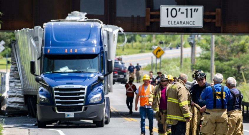 A tractor trailer isdamaged after hitting the Canadian Pacific Railroad Bridge at Glenridge and Hetcheltown roads on Tuesday.