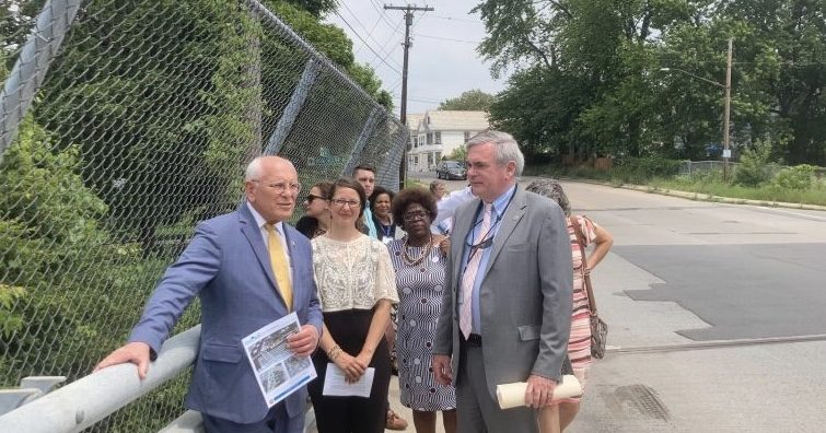 From right, U.S. Rep. Paul Tonko, Schenectady Development Director Kristin Diotte, Councilwoman Marion Porterfield, and Mayor Gary McCarthy lead a group ofcommunity members in a walking tour of Craig Street, stopping at the I-890 overpass bridge.