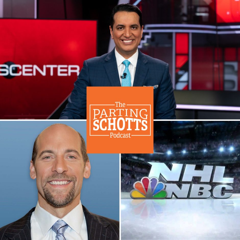 """ESPN """"SportsCenter"""" anchor Kevin Negandhi (top) talks the National Spelling Bee finals and Philadelphia sports, baseball Hall of Famer John Smoltz (left) talks baseball and golf and Ken Fang of Awful Announcing discusses media topics, including the NHL on NBC."""