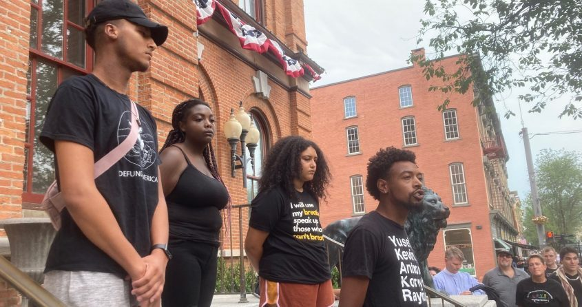 Lexis Figuereo speaks during a BLM demonstration in front of Saratoga Springs City Hall Monday.