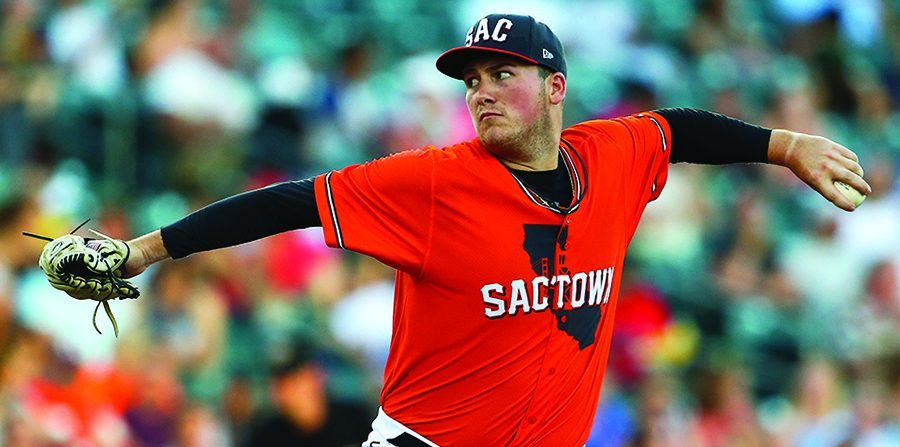 Broadalbin-Perth High School and Siena College product Matt Gage, shown pitching for the Sacramento River Cats in 2017, is now pitching for the Reno Aces, the Triple-A affiliate of the Arizona Diamondbacks. (Photo courtesy Sacramento River Cats)