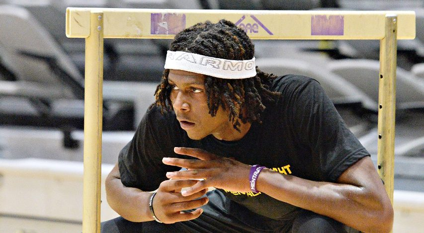 Aaron Reddish works through a conditioning drill during a UAlbany men's basketball workout last Tuesday.