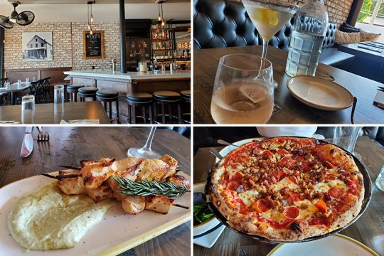 Clockwise from top left: The interior of Classic Crust Brick and Mortar;a dry martini and glass of rosé wine; a meat lover's pizza; androasted rosemary chicken kabobs with pesto aioli. (Caroline Lee photos)
