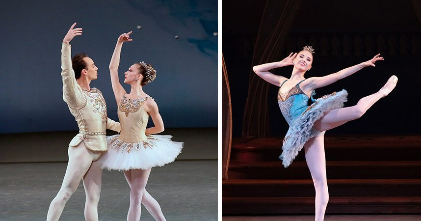 """The New York City Ballet returns to SPAC on Wednesday. Left: Maria Kowroski and Tyler Angle in """"Diamonds"""" from """"Jewels."""" Right: NYCB soloist Sara Adams in Peter Martins' """"The Sleeping Beauty."""" (Paul Kolnik/Erin Baiano)"""