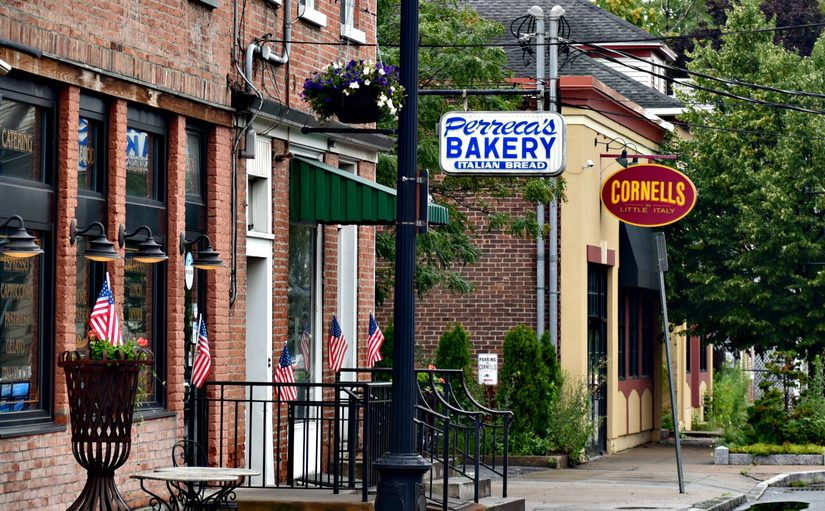 Perreca's Bakery at 33 N. Jay Street and Cornell's Restaurant at 39 N. Jay Street are pictured Monday.