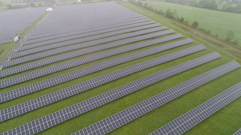 A drone photo shows a new solar array in the town of Bethel. State officials cut the ribbon on the facility Tuesday.