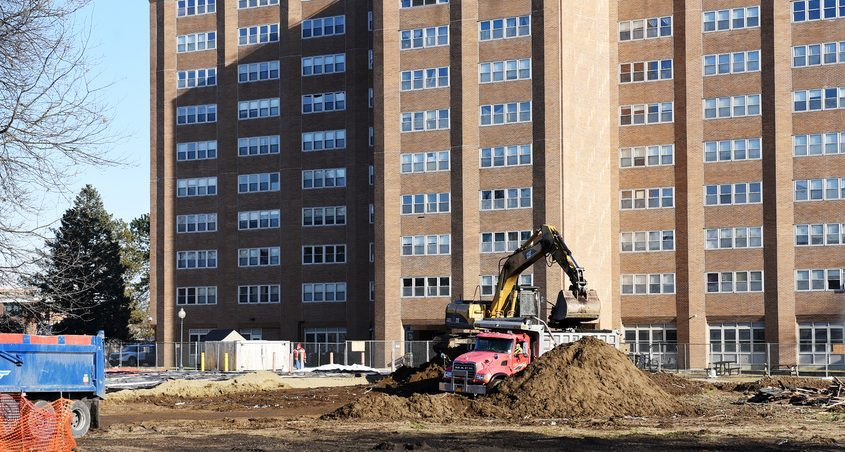 An early stage of construction at the new Promenade Apartments in Saratoga Springs is shown in December 2019.