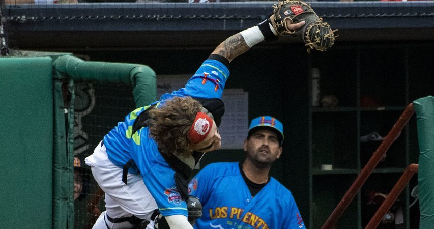 Tri-City ValleyCats catcher Daniel Angulo catches a foul pop-up behind home plate against Washington on Tuesday at Joe Bruno Stadium in Troy.