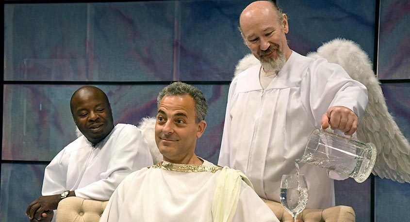 """Richard Marshall, Bill Shein and Scott Wasser, left to right, share the stage during a scene from """"An Act of God,"""" opening July 22 at Curtain Call Theatre in Latham. (Michael Farrell)"""