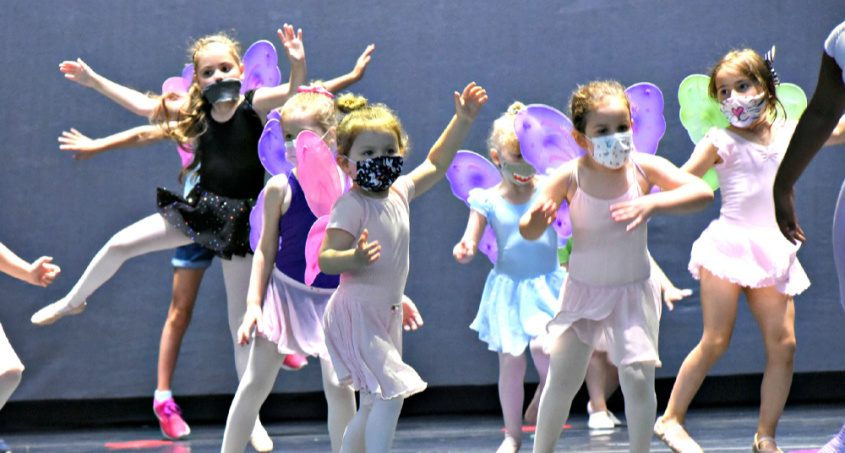 """Children ages 4 to 8 take part in The Children's Workshop event, led by New York City Ballet dancer Mimi Staker Tuesday afternoon, learning a dance routine inspired by """"A Midsummer Night's Dream"""" on the SPAC stage in Saratoga Springs."""
