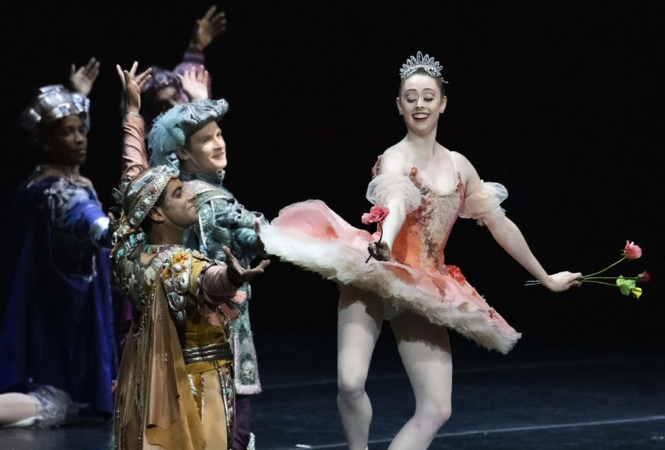 """Members of the New York City Balletperform """"Rose Adagio"""" from The Sleeping Beauty at an evening of """"Short Stories"""" at the Saratoga Performing Arts Center Wednesday."""