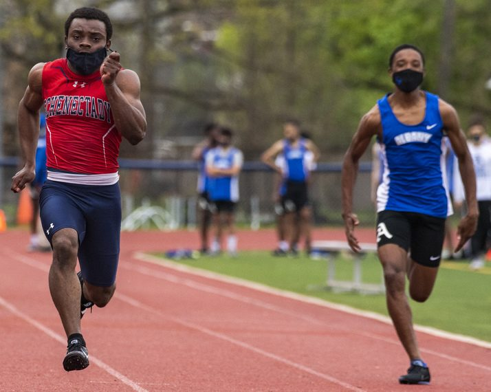 Shemar Delphin of Schenectady wins the 100-meter dash in a Suburban Council meet with Albany during this past spring season.