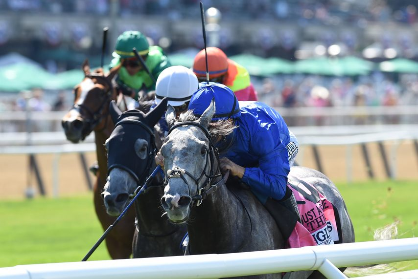 Althiqa, right, and stablemate Summer Romance finish 1-2, respectively, in the Grade I Just a Game at Belmont Park on June 5.