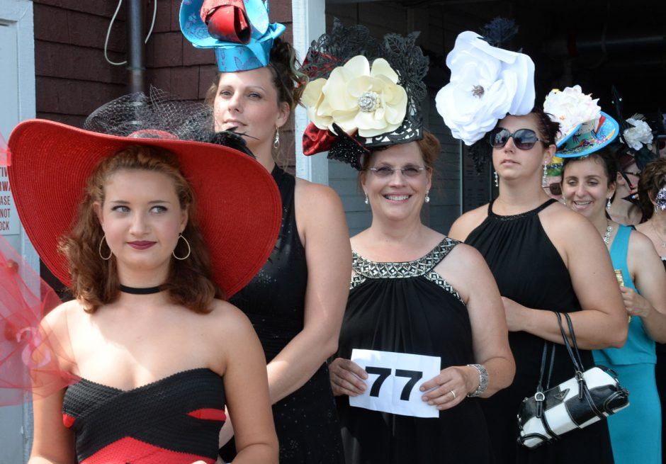 The 25th Anniversary hat contest was held at the Saratoga Race Course on Sunday July 24, 2016. Fashionably Saratoga contestants in line to show off their hats. (Gazette file photo)