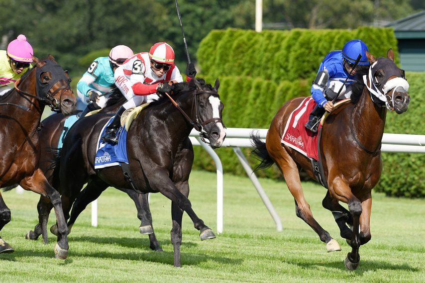 Rinaldi and jockey Luis Saez, right, hold off Value Proposition (3) to win the Grade III Forbidden Apple at Saratoga on Friday.