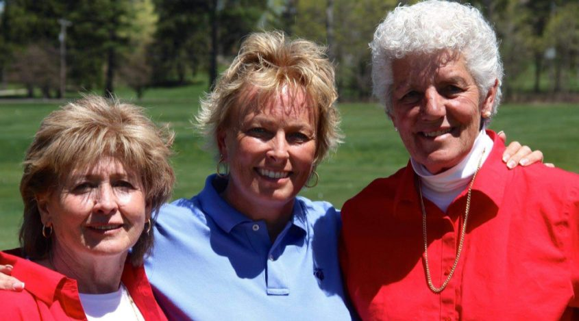 Symetra Tour founder Eloise Trainor, left, poses with former LPGA standout Dottie Pepper, center, and LPGA Teaching Pro Hall of Famer Kay McMahon.