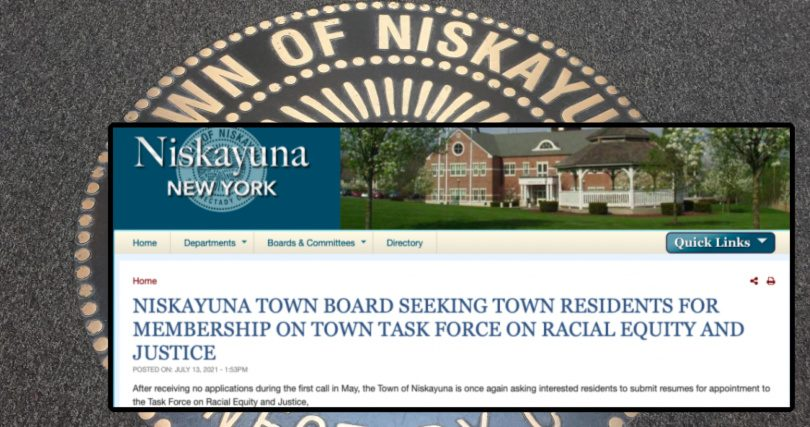 Niskayuna's website Friday stated that no applicants sought appointment to the town's task force on racial equity and justice.