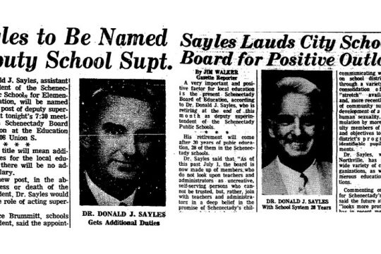 Donald Sayles Gazette articles from Sept. 16, 1968, left, and July 26, 1978, right