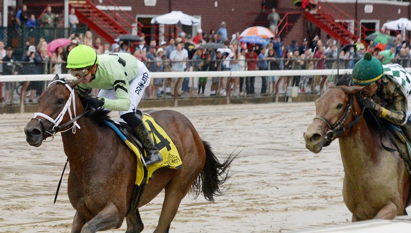 Goin' Good (left), ridden by Tyler Gaffalione, trained by Brad Cox, wins the 10th running of the Coronation Cup at Saratoga Race Course in Saratoga Springs on Sunday